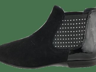 Boots Reqins noir cuir daim et vernis Lizette Clous