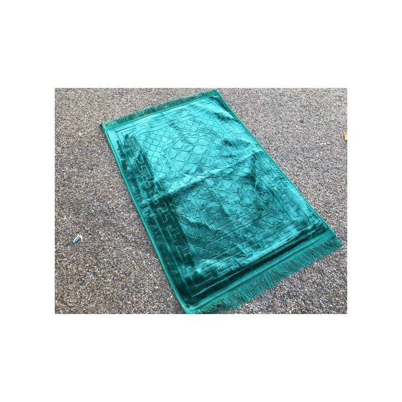 grand tapis de priere uni tres epais antiderapant vert pastel boutique salam