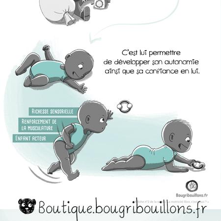 La motricité libre - Extrait 2 - assis callé/retournement - Affiche Bougribouillons Petite enfance