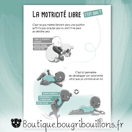 La motricité libre - Affiche 2 - assis callé/retournement - Affiche Bougribouillons Petite enfance