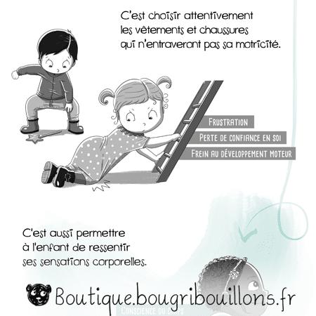 La motricité libre - Extrait 5 - Vêtements et mouvements - Affiche Bougribouillons Petite enfance
