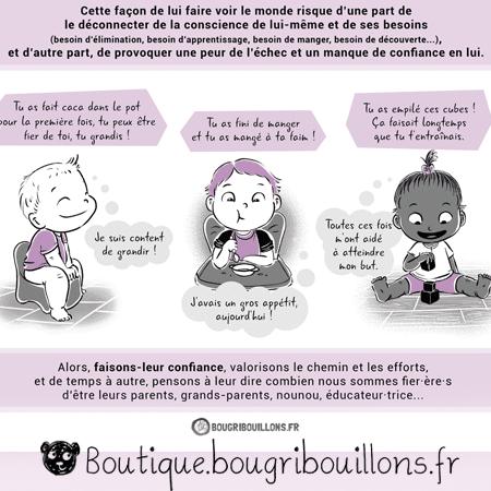 Bravo ou les compliments descriptifs et évalutatifs - Extrait 2 - Affiche Bougribouillons Petite enfance