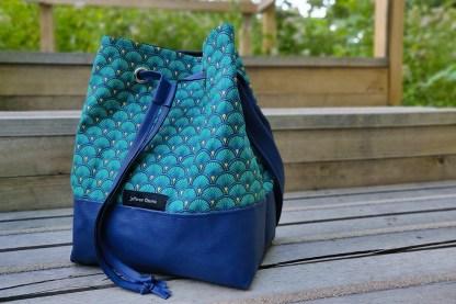 Sac seau eventails turquoise jefferson ozuma 3q face