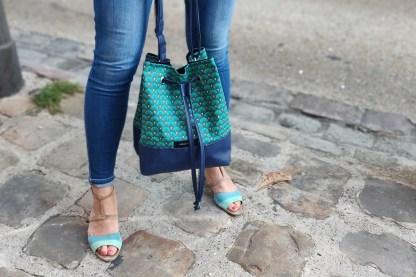 sac seau eventails turquoise situation