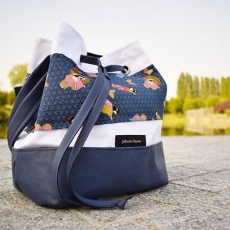 sac seau asanoha kimono bleu face