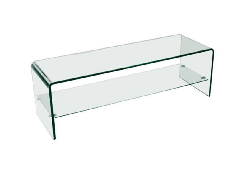 banc tv en verre trempe transparent