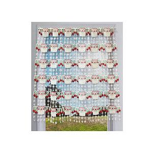petit rideau cantonniere macrame motif pot de confiture cerises