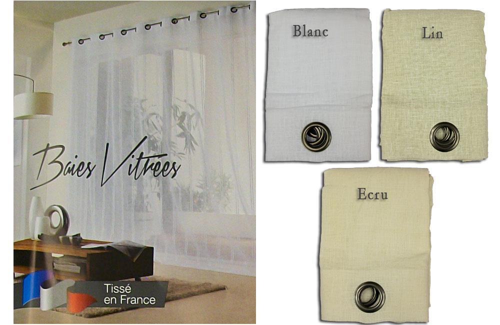details sur rideau voilage grande largeur voile aspect lin 240x260cm special baie vitree