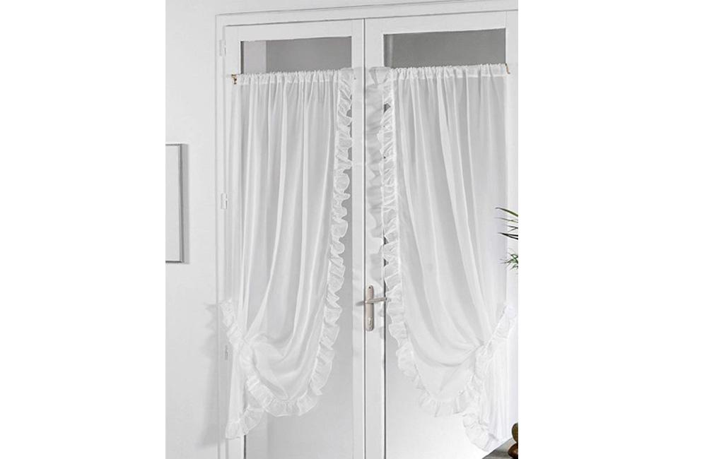 details sur paire de rideaux bonne femme voilage plein jour blanc 95x150 ou 95x210 cm