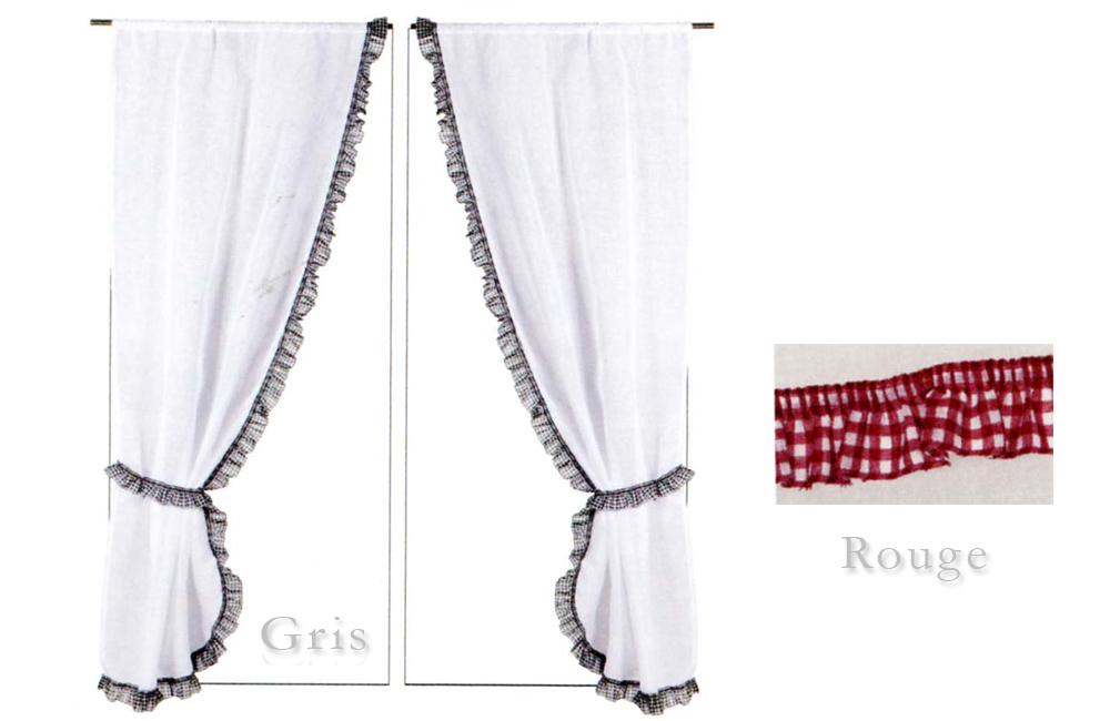 details sur paire de rideaux bonne femme embrasses volant carreaux vichy rouge ou gris