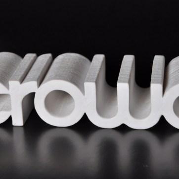 Logo de empresa impresso em plástico ABS.