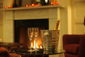 Brooks Hotel, Edinburgh - Champagne by fireside