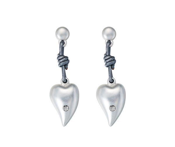 Boucles d'oreilles Cœur en cuir - Gris mat
