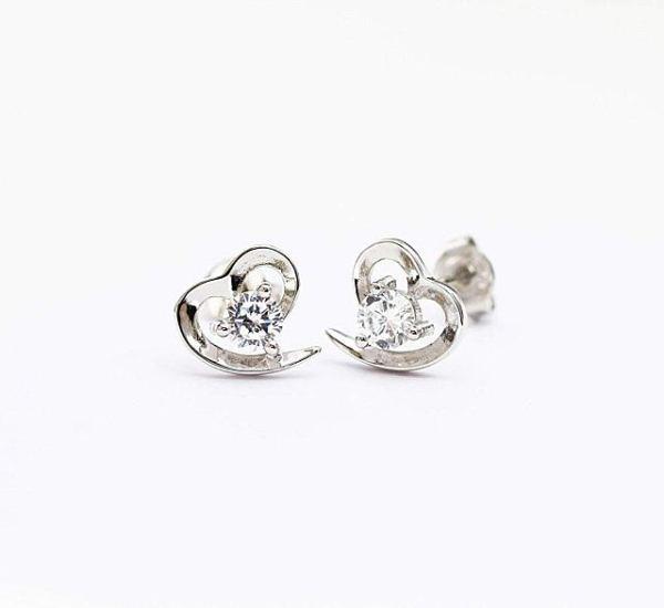 Boucles d'oreilles cœur diamant plaqué argent