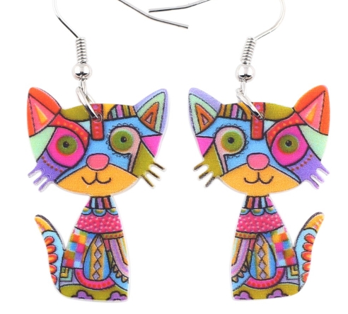Boucles d'oreilles chat - Multicolore