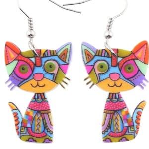 Boucles d'oreilles chat - Multicolore