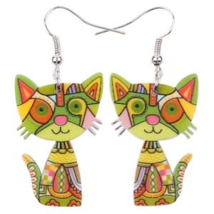 Boucles d'oreilles chat - Tons vert