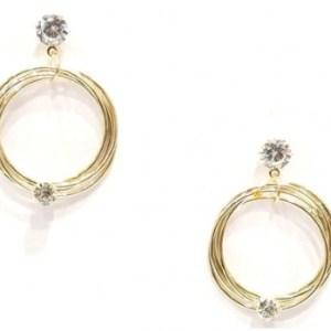 Boucles d'oreilles pendantes dorées anneaux