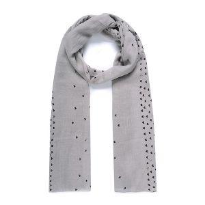 Foulard XL cœurs effet métallisé gris