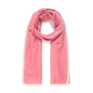 Foulard XL dentelle crochetée rose