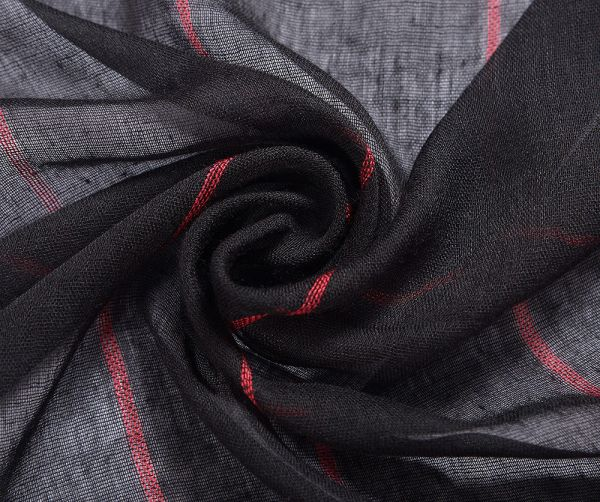 Foulard XL noir à rayures femme