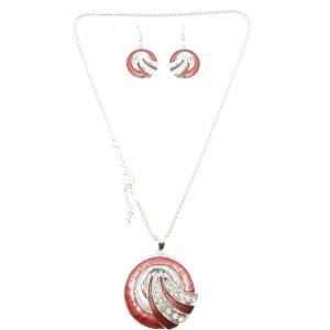 Parure pendentif boucles d'oreilles bois de rose