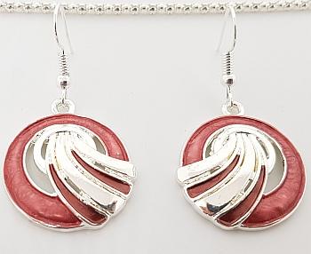 Parure pendentif boucles d'oreilles bois de rose zoom