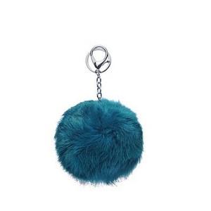 Porte clé bijou de sac pompon bleu