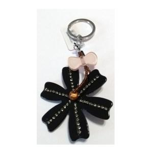 Porte clé bijou de sac pompon gris femme