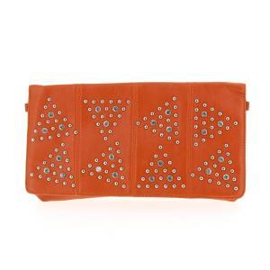 sac pochette strass orange clouté
