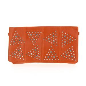sac pochette strass orange clouté