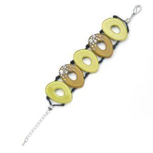 Bracelet acrylique tons vert pâle/marron