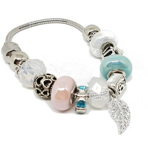 Bracelet charms turquoise blanc rose