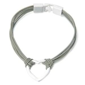 Bracelet cordon cuir gris