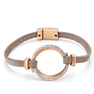 Bracelet cuir taupe or mat