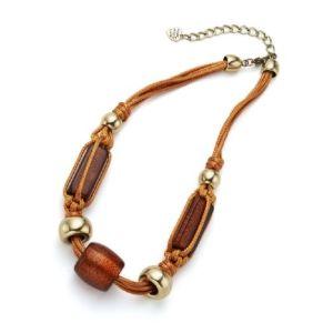 Collier chaîne cordelettes grosses perles dorées