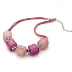 Collier grosses perles rose