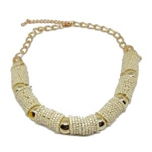 Collier perles beige