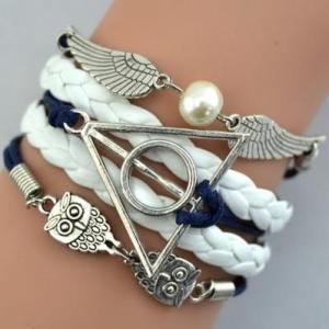 Bracelet Tressé Bleu et Blanc Collection Hibou