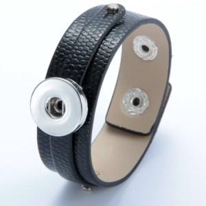 Bracelet cuir et bague - noir