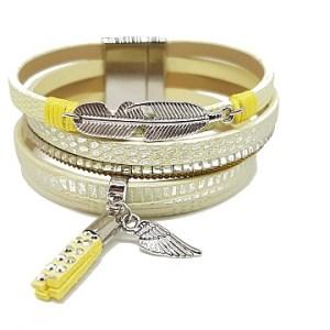 Bracelet jaune flashy métal et charms