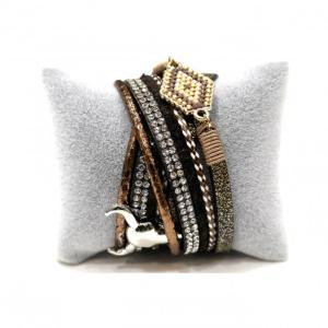 Bracelet marron double tour