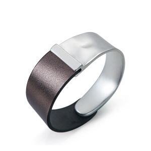 Manchette en cuir métal argent mat