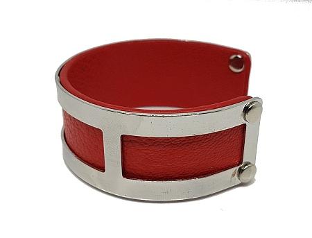 Manchette rectangles simili cuir rouge droit