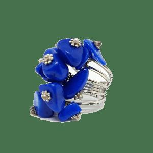 Bague réglable en pierres naturelles bleues