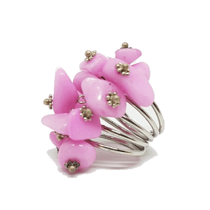 Bague réglable en pierres naturelles roses