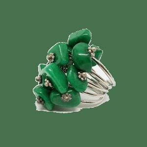 Bague réglable en pierres naturelles vertes