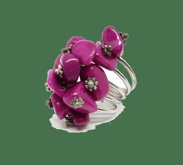 Bague réglable en pierres naturelles violettes