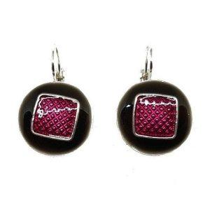 Boucles d'oreille en émail rondes avec un carré Couleur violet