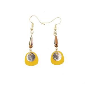 Boucles d'oreilles pendantes métal jaune
